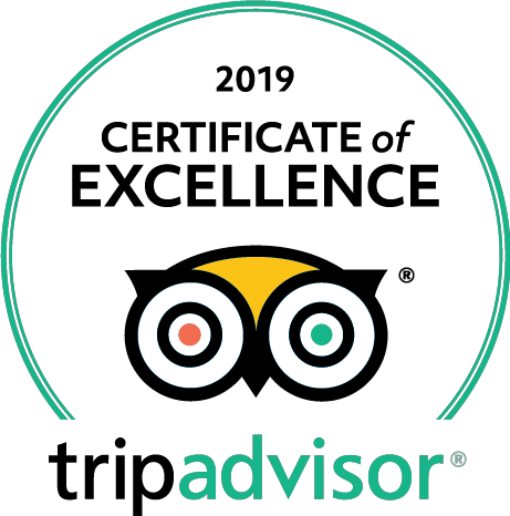TripAdvisor certificate of excellence 2018 & 2019